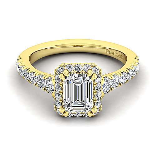 14K Yellow Gold Halo Emerald Cut Diamond Engagement Ring