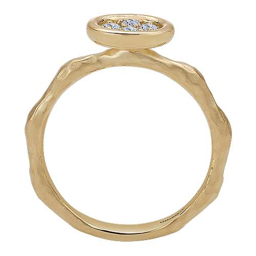 14K Yellow Gold Hammered Ring with Oval Diamond Cluster Center