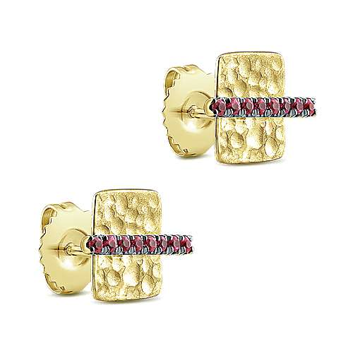 14K Yellow Gold Hammered Square with Ruby Bar Stud Earrings