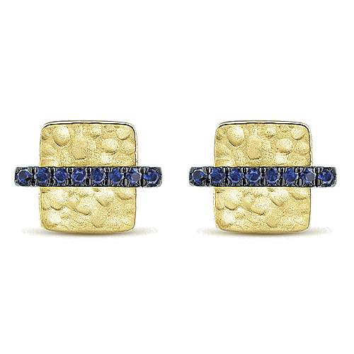 14K Yellow Gold Hammered Square with Sapphire Bar Stud Earrings