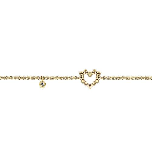 14K Yellow Gold Heart Bracelet with Diamond Bezel Charm