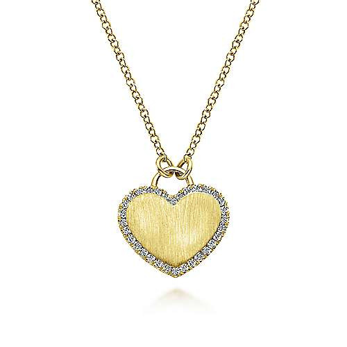 Gabriel - 14K Yellow Gold Heart Engravable Necklace