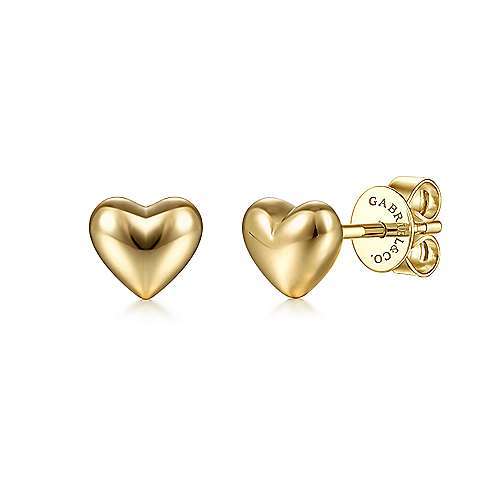 14K Yellow Gold Heart Plain Earrings