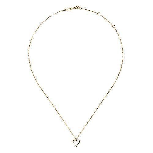 14K Yellow Gold Heart Plain Pendant Necklace
