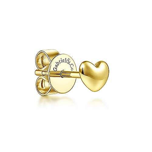14K Yellow Gold Heart Shape Single Stud Earring
