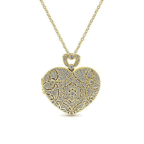 14K Yellow Gold Heart Shaped Openwork Diamond Locket Necklace