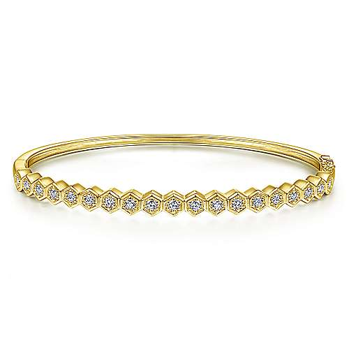 14K Yellow Gold Hexagon Set Round Diamond Bangle