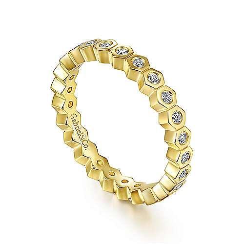 14K Yellow Gold Hexagon Shape Diamond Eternity Ring