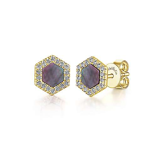 14K Yellow Gold Hexagon Shaped Black MOP Stud Earrings with Diamond Halo