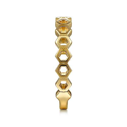 14K Yellow Gold Hexagon Stackable Ring