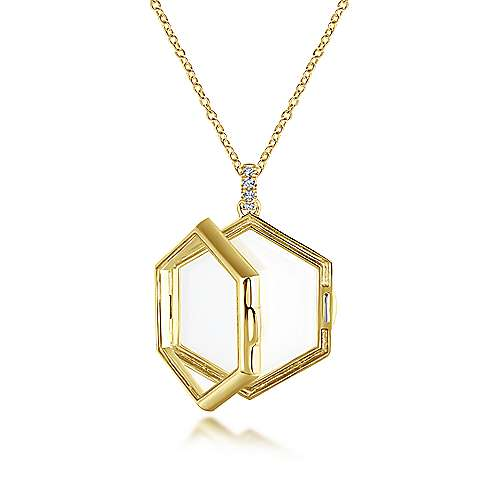 14K Yellow Gold Hexagonal Glass Front Locket Necklace