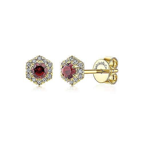 14K Yellow Gold Hexagonal Halo Garnet and Diamond Stud Earrings