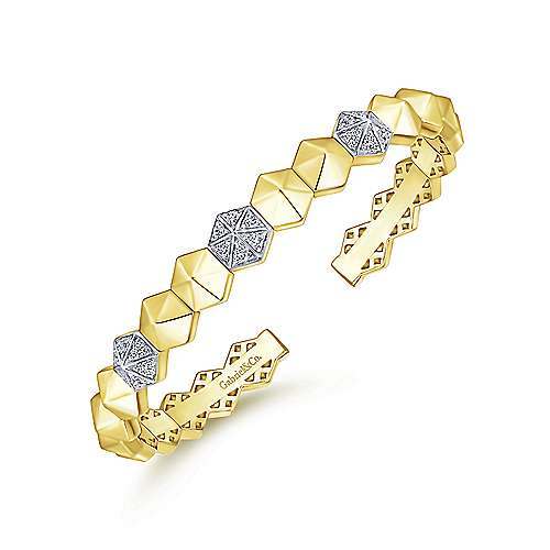 14K Yellow Gold Hexagonal Pyramid Diamond Pavé Split Bangle