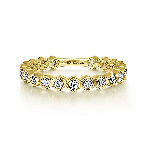 14K Yellow Gold Hexagonal Station Stackable Diamond Band