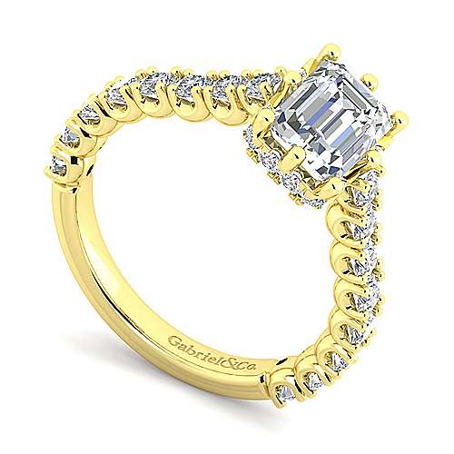 14K Yellow Gold Hidden Halo Emerald Cut Diamond Engagement Ring