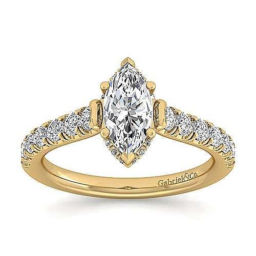 14K Yellow Gold Hidden Halo Marquise Shape Diamond Engagement Ring