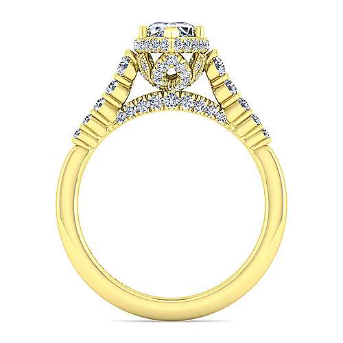 14K Yellow Gold Hidden Halo Marquise Shape Diamond Engagement Ring