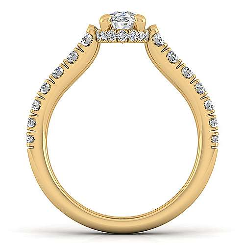 14K Yellow Gold Hidden Halo Oval Diamond Engagement Ring