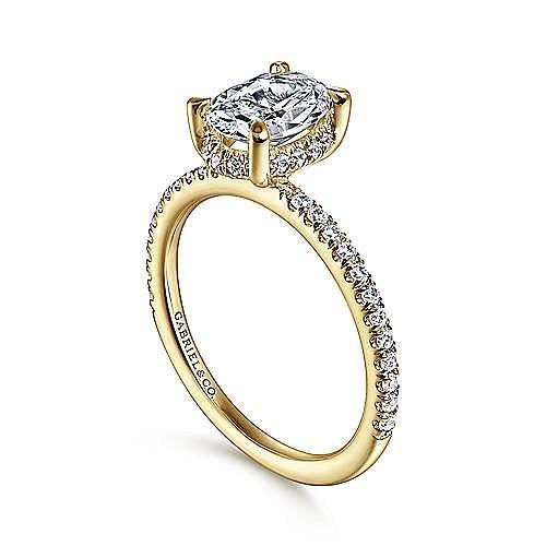 14K Yellow Gold Hidden Halo Oval Diamond Engagement Ring