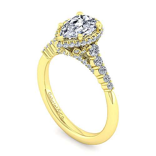 14K Yellow Gold Hidden Halo Pear Shape Diamond Engagement Ring
