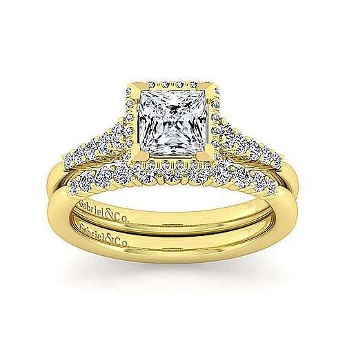 14K Yellow Gold Hidden Halo Princess Cut Diamond Engagement Ring
