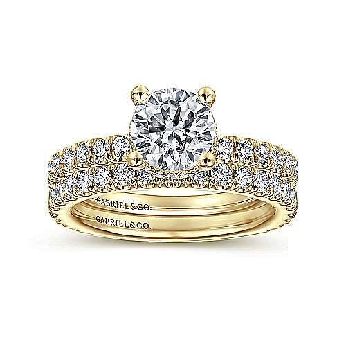 14K Yellow Gold Hidden Halo Round Diamond Engagement Ring