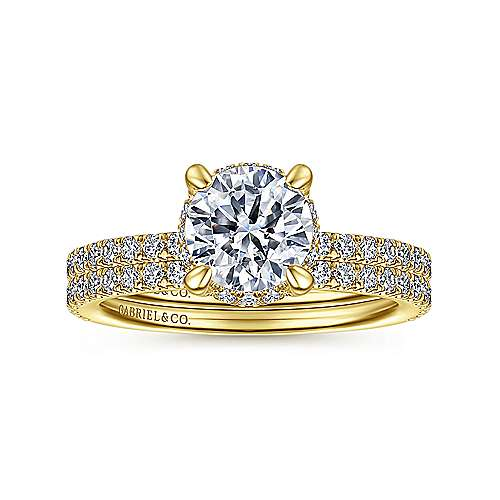 14K Yellow Gold Hidden Halo Round Diamond Engagement Ring