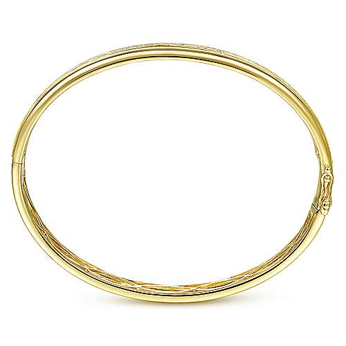 14K Yellow Gold High Polished Bangle with Diamond Inner Channel