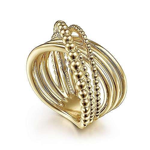 14K Yellow Gold High Polished Bujukan Bead Criss Cross Ring