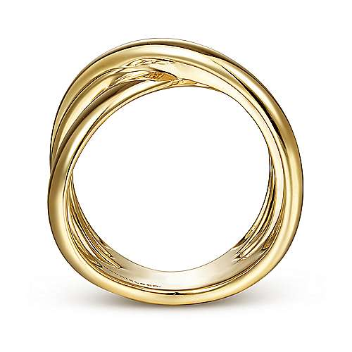 14K Yellow Gold High Polished Criss Cross Ring