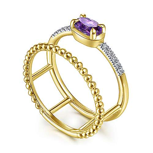 14K Yellow Gold Horizontal Oval Amethyst and Diamond Split Shank Ring