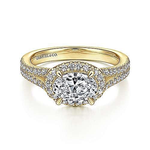 14K Yellow Gold Horizontal Oval Halo Diamond Engagement Ring