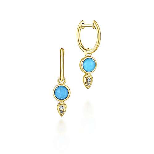 14K Yellow Gold Huggie Earrings with Rock Crystal/Turquoise and Diamond Drops