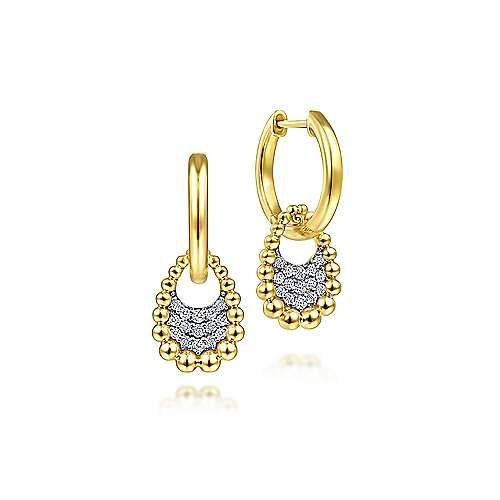 14K Yellow Gold Huggies with Beaded Ball and Diamond Drops