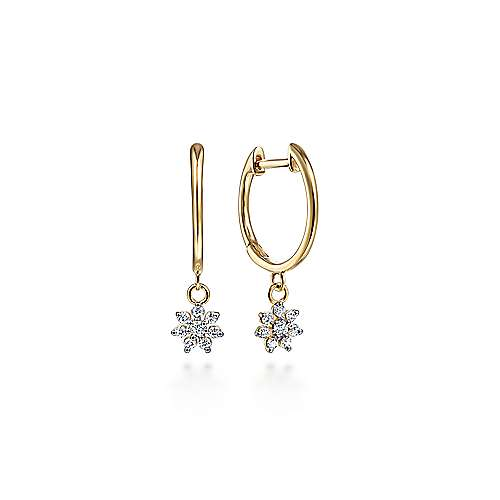 14K Yellow Gold Huggies with Pavé Diamond Star Drops