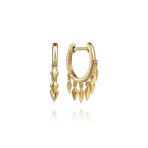 14K Yellow Gold Huggies with Spike Drops