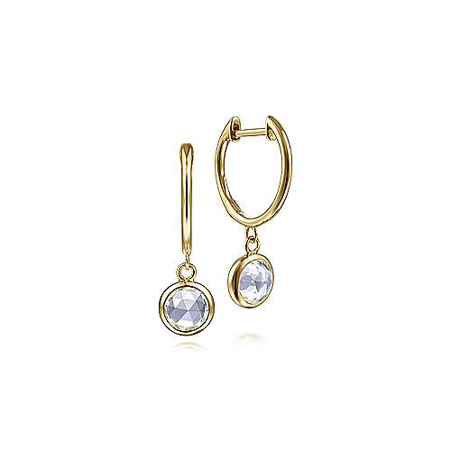 14K Yellow Gold Huggies with White Topaz Bezel Drops