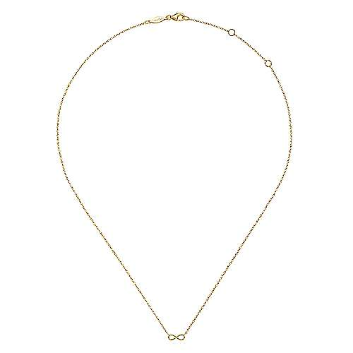 14K Yellow Gold Infinity Pendant Necklace