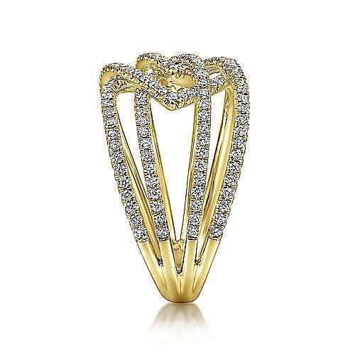 14K Yellow Gold Intersecting Multi Row Pavé Diamond Ring