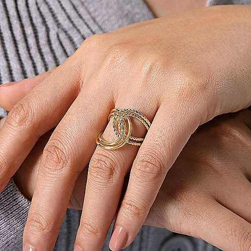 14K Yellow Gold Intertwined Twisted and Polished Rope Ring