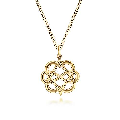 14K Yellow Gold Interwoven Floral Pendant Necklace