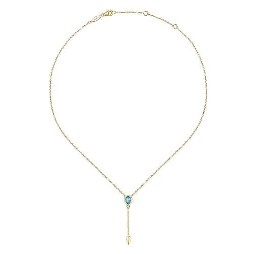 14K Yellow Gold Inverted Blue Topaz Teardrop Y Necklace