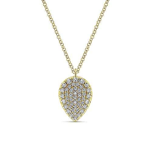 14K Yellow Gold Inverted Teardrop Diamond Pavé Pendant Necklace