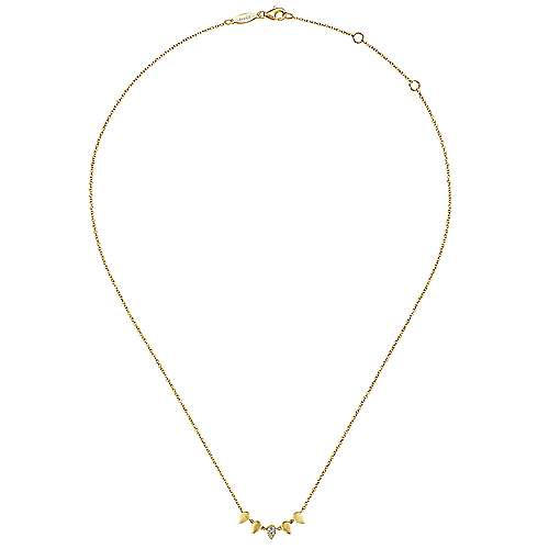 14K Yellow Gold Inverted Teardrop Station Necklace with Diamond Pavé