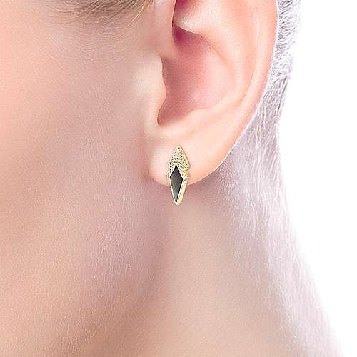14K Yellow Gold Kite Shaped Black MOP Earrings with Chevron Shaped Diamond Tops