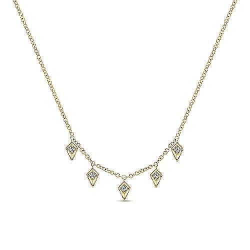 14K Yellow Gold Kite Shaped Diamond Station Necklace