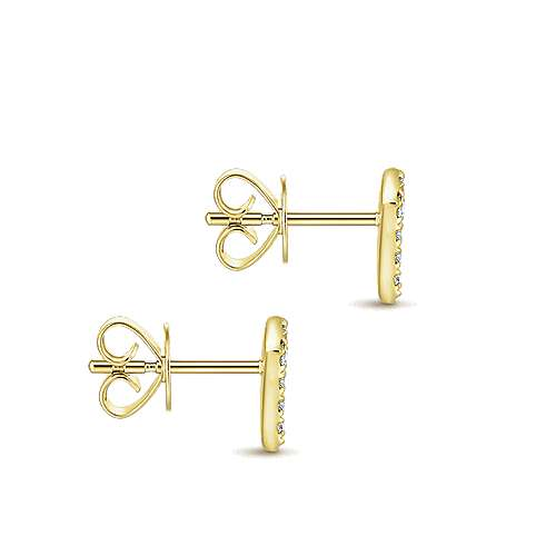 14K Yellow Gold Kite Shaped Diamond Stud Earrings
