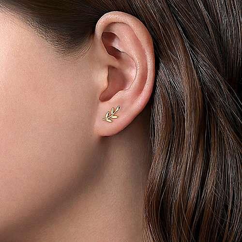 14K Yellow Gold Laurel Branch Post Earrings