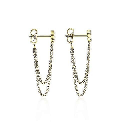 14K Yellow Gold Layered Chain Link Triple Station Diamond Drop Earrings