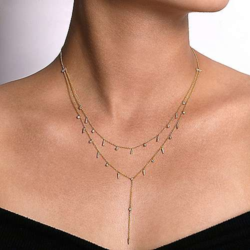 14K Yellow Gold Layered Diamond Drop Stations Y Necklace